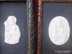 2 db Zsolnay porcelán kép vallási jelenetekkel .