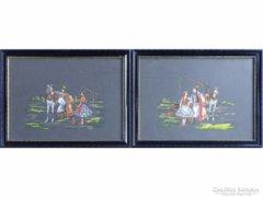 0E793 Régi hortobágyi csikós akvarell párban