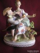 Meissen-i porcelán életkép, szép darab