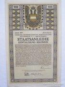 I. VILÁGHÁBORÚS HADIKÖLCSÖN - 1000 KORONÁS - 1917!