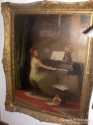Komáromi-Kacz Endre festménye: Zongorázó Nő c.