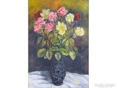 0E810 Jelzett virágcsendélet rózsacsokor