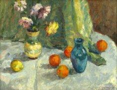 Gyelmis Lukács : Csendélet narancsokkal