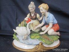 Ritka Nápolyi porcelán életkép, hibátlan és gyönyörű állapot 1880-1890 évek