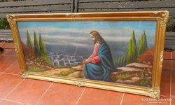 Antik hatalmas olaj festmény - Jézus az olajfák hegyén