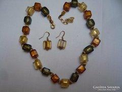 Muránói nyaklánc + fülbevaló