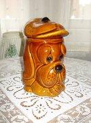 Kutya alakú fedeles kerámia sütemény,keksz, tárolóedény