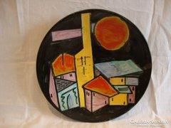 Jelzett iparművész kerámia fali tál házak