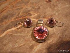 13,1gr rózsaszín kristály 925 ezüstmedál+ezüst fülbevaló