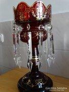 Antik Bohemia gyertyatartó, lüszter metszett csüngőkkel