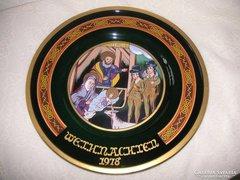 Üveg Falitányér, bibliai témájú, szignózott, sorszámozott üvegművészi munka. 28,5 cm . Limitált dara