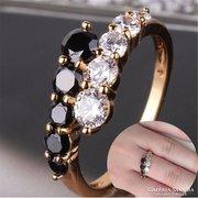 Gold Filled fekete-fehér zafír köves gyűrű 5-ös ÚJ