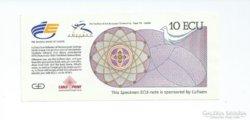 1992 Sevilla Expo 10 ECU Specimen Bankjegy UNC