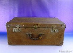 0F081 Antik nagyméretű bőrönd koffer vulcanfiber