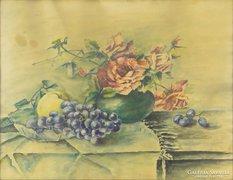 0E930 Régi asztali virágcsendélet jelzetlen