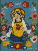 0E977 Antik erdélyi üveg ikon : Szeplőtelen Mária