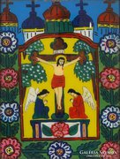 0E979 Antik erdélyi üveg ikon : Jézus a kereszten