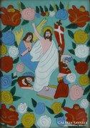 0E980 Antik erdélyi üveg ikon : Jézus a mennyekben