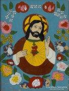 0E982 Antik erdélyi üveg ikon : Jézus Krisztus