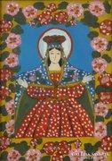 0E984 Antik erdélyi üveg ikon : Női szent
