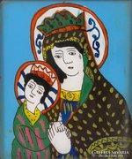 0E985 Antik erdélyi üveg ikon : Mária és kis Jézus