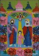 0E988 Antik erdélyi üveg ikon : Szent család
