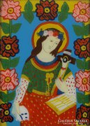 0E991 Antik erdélyi üveg ikon : Női szent