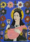 0E992 Antik erdélyi üveg ikon : Női szent