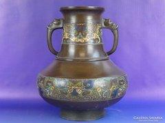 0F055 Antik bronz festett amfora váza
