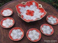 Kézifestésű német porcelán kínáló-aprósütis-dessertes-bonbonos készlet