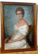 Balogh Margit (1898-1965)- Nő virággal 110x80cm