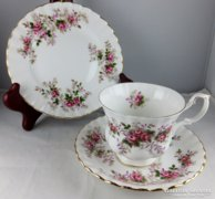 Kuriózum  12 személyes komplett Lavender Rose Royal Albert Angol teás/sütis készlet+gyertyatartó 2 d