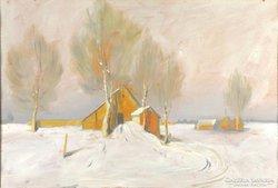 Magyar festő 1940 körül : Téli táj