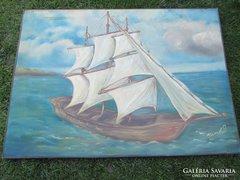 Hatalmas olaj vászon festmény szignos.115x83 cm