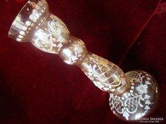BIEDERMEIER kézzel VIRÁG festett üveg váza