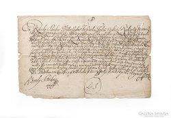 Kézirat ritkaság!!! Károlyi Sándor levele,Rákóczy Ferenchez