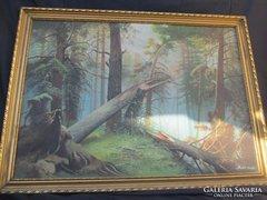 Szabó Dezső tájkép az erdő mélyén. 76x56 cm