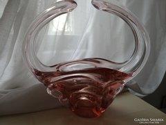 Cseh üvegkosár, asztalközép halvány rózsaszínben, nagyméretű