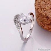 Ezüstözött gyűrű, fehér köves 8-as ÚJ!