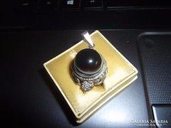 Antik ezüst medál / szemachát