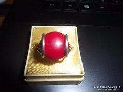 ezüst gyűrű / korall