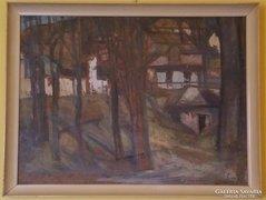 Seres János festmény: Avasi ház 1964