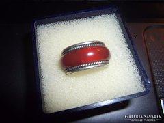Ezüst gyűrű karneollal