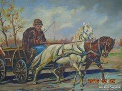 Olaj-vászon festmény-63x46 cm