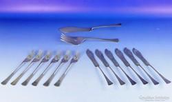 0E714 Régi ezüst halas 6 személyes készlet 905 g