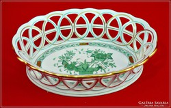 Herendi áttört asztalközép Indiai kosár mintával
