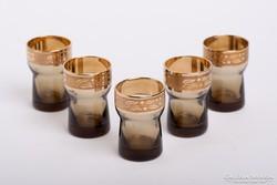 Retro likőrös, pálinkás poharak aranyszegéllyel, Borské Sklo