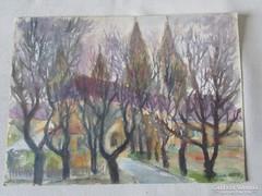 MOSSHAMMER GYÖRGY festmény TEMPLOM TORNYOK 1943