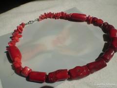 Valódi piros  KORALL két mintás nyaklánc