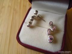 Pink köves ezüst fülbevaló - stekker - új ékszer